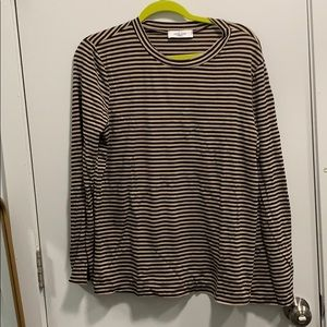 Light tan and black striped long sleeve top